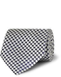 Cravate en pied-de-poule blanche et noire Charvet