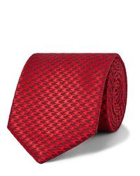 Cravate en pied-de-poule rouge Charvet