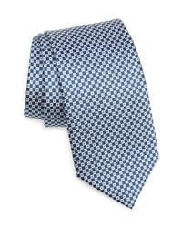 Cravate en soie à carreaux bleu marine et blanc