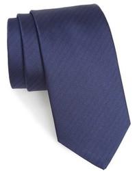 Cravate en soie à chevrons bleu marine