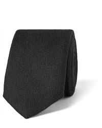 Cravate en soie à chevrons noire Prada