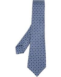 Cravate en soie à fleurs bleu marine Kiton
