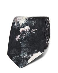 Cravate en soie à fleurs noire Alexander McQueen