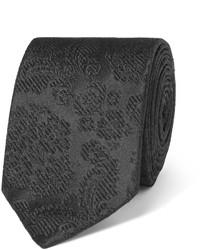 Cravate en soie à fleurs noire Dolce & Gabbana