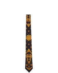 Cravate en soie à fleurs noire Versace