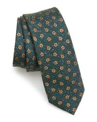 Cravate en soie à fleurs vert foncé