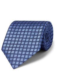 Cravate en soie á pois bleu marine Charvet