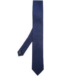 Cravate en soie á pois bleu marine Dolce & Gabbana