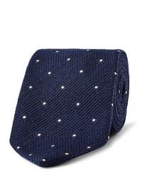 Cravate en soie á pois bleu marine Drakes