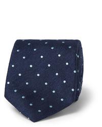 Cravate en soie á pois bleu marine Dunhill