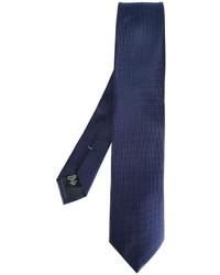 Cravate en soie á pois bleu marine Ermenegildo Zegna