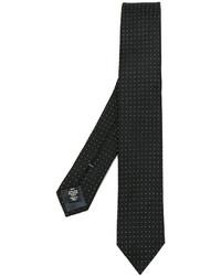 Cravate en soie á pois noire Ermenegildo Zegna