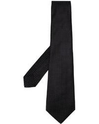 Cravate en soie á pois noire Kiton