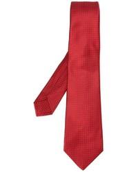 Cravate en soie á pois rouge Kiton