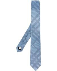 Cravate en soie à rayures horizontales bleu clair Burberry