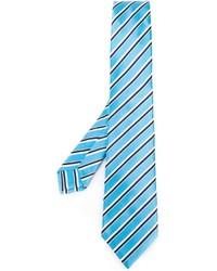 Cravate en soie à rayures horizontales bleu clair Kiton