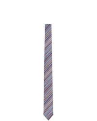 Cravate en soie à rayures horizontales bleu clair Paul Smith