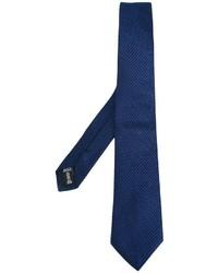 Cravate en soie à rayures horizontales bleu marine Armani Collezioni
