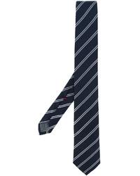 Cravate en soie à rayures horizontales bleu marine Brunello Cucinelli