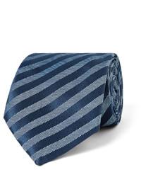 Cravate en soie à rayures horizontales bleu marine Charvet