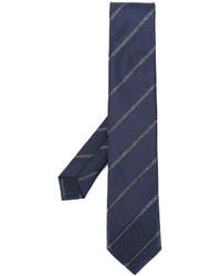 Cravate en soie à rayures horizontales bleu marine Corneliani