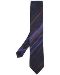 Cravate en soie à rayures horizontales bleu marine Etro