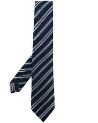 Cravate en soie à rayures horizontales bleu marine Kiton
