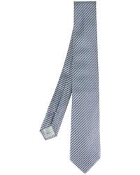 Cravate en soie à rayures horizontales bleue Armani Collezioni