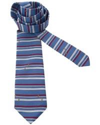 Cravate en soie à rayures horizontales bleue Pierre Cardin