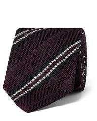 Cravate en soie à rayures horizontales bordeaux Drakes