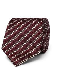Cravate en soie à rayures horizontales bordeaux Dunhill