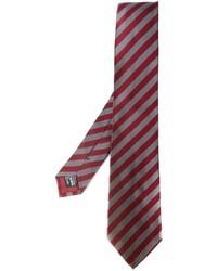 Cravate en soie à rayures horizontales bordeaux Giorgio Armani