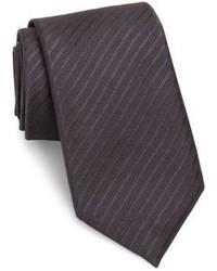 Cravate en soie à rayures horizontales grise foncée Pal Zileri