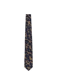 Cravate en soie à rayures horizontales noire Dries Van Noten