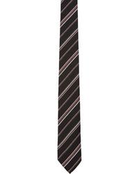 Cravate en soie à rayures horizontales noire Paul Smith