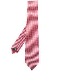 Cravate en soie à rayures horizontales rouge Giorgio Armani