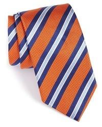 Cravate en soie à rayures horizontales tabac