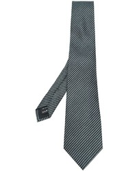 Cravate en soie à rayures horizontales vert foncé Z Zegna