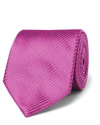 Cravate en soie à rayures horizontales violet clair Charvet