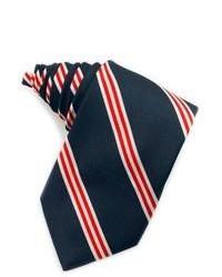 Cravate en soie à rayures verticales blanc et rouge et bleu marine