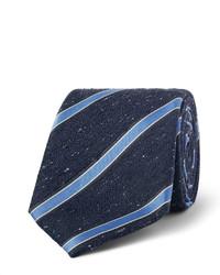 Cravate en soie à rayures verticales bleu marine Canali
