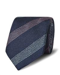 Cravate en soie à rayures verticales bleue marine Richard James