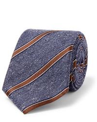 Cravate en soie à rayures verticales bleue Canali