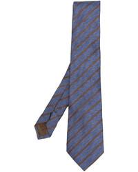 Cravate en soie à rayures verticales bleue Church's