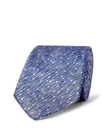 Cravate en soie à rayures verticales bleue Richard James