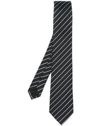 Cravate en soie à rayures verticales noire Armani Collezioni