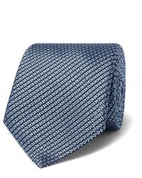 Cravate en soie bleu clair Canali