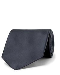 Cravate en soie bleu marine Alexander McQueen