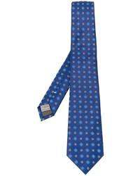 Cravate en soie brodée bleue Canali