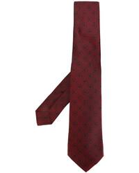Cravate en soie brodée bordeaux Kiton